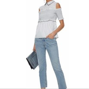 Maryville cold-shoulder gingham cotton-poplin top